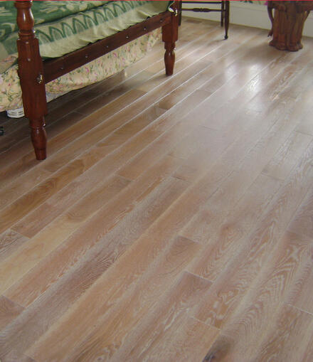 wide-plank white oak with a wire-brushed surface