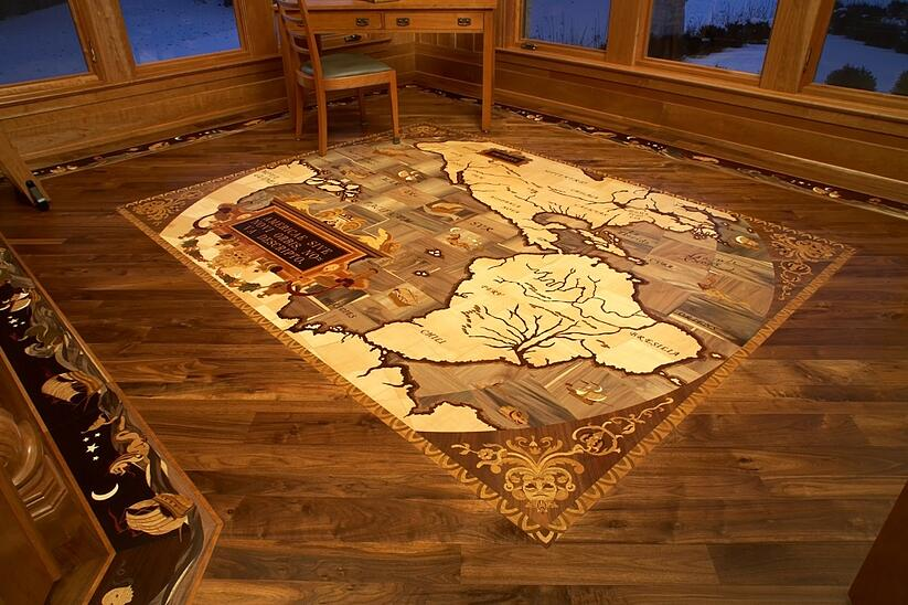 Ships and Sea Serpent Hardwood Floor Medallion