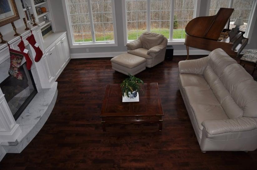 Birch hardwood flooring looks beautiful when stained dark.