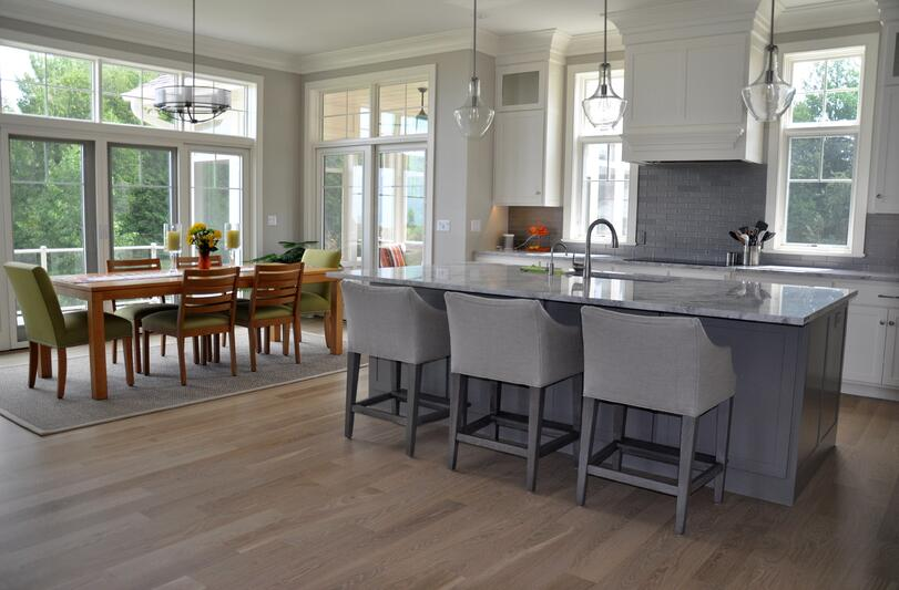 Low-sheen hardwood flooring looks casual and hides wear and tear.