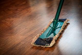 Cleaning hardwood floors is easy.